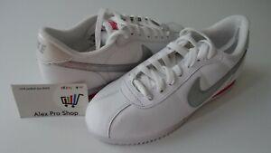 New Women's Size 7.5 Nike Cortez Leather '06 White/Metallic silver 317266 120