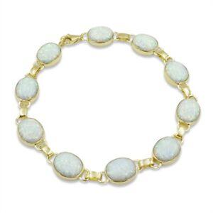 Created Opal 9ct Gold Large Stones Bracelet