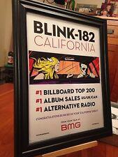 "BIG 10x13 FRAMED ORIGINAL BLINK-182 ""CALIFORNIA"" LP ALBUM CD PROMO AD"