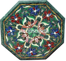 """12"""" Green Marble Coffee Corner Table Top Rare Inlay Marquetry Home Decor"""