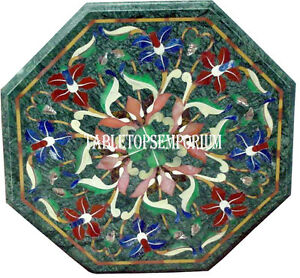 """12"""" Green Marble Coffee Corner Table Top Rare Inlay Marquetry Home Decor Gift"""