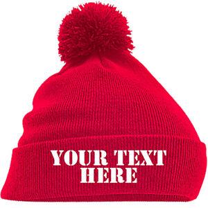 Personalised Pom Pom Beanie Bobble Hat With Name Slogan Custom Mens Womens