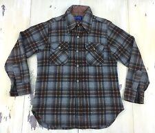 JCPenney - Vtg 70s-80s Gray & Burgundy Wool Plaid Lumberjack Shirt, Medium-Large