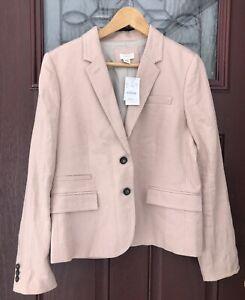$145 NWT J Crew Linen Blazer Jacket Wool Womens Size 12 Beige / Blush Pink NEW
