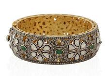 Vintage Emerald Engagement Party Bracelet Natural Rose Cut Diamond 10.62ct Polki
