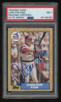Carlton Fisk Signed 1987 Topps 756 Chicago White Sox Baseball Card Encapsulated