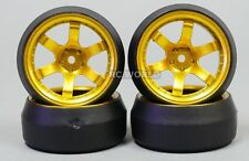 RC Car 1/10 DRIFT WHEELS TIRES Package STAGGER 0 Degree GOLD 6MM + 9MM Package