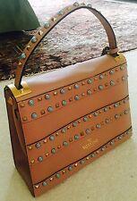 VALENTINO Gorgeous Turquoise ROCKSTUD NATIVE COUTURE Medium Beige Tan - Handbag