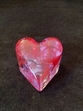2007 Fire & Light Recycled Glass Small Pink & Red Swirl Art Glass Paperweight