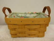 2004 Longaberger Small Handmade Basket With Leather Handles Floral Fabric Insert