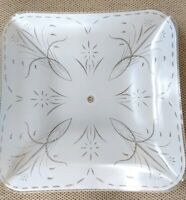 Vintage Mid Century Square Frosted Glass Ceiling Light Shade Floral