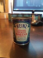 Vintage Heinz 57 Strained Baby Food Paper label Tin Can~ Strained Mixed Greens
