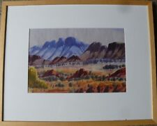 HERBERT RABERABRA ABORIGINAL WATERCOLOUR LANDSCAPE PAINTING HERMANNSBERG FRAMED
