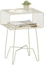 mDesign Modern Farmhouse Side/End Table - Metal Grid Design, Satin