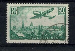 "FRANCE STAMP YVERT AVION 14 SCOTT C14 "" PLANE OVER PARIS 50F GREEN"" USED VF W333"