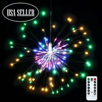 Hanging Firework LED Fairy String Light 8Modes Remote Christmas Party Xmas Decor