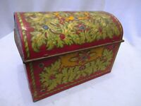 Vintage The Lipton Jewel Casket Litho Colorful Embossed Jewellery Tin Box Rare *