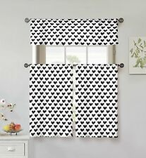 "100% Cotton Black/White 3 Pc Small Curtain Set: Hearts, Valance, 2 Tiers 36""L"