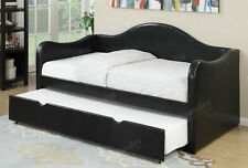 NEW TULSA CLASSIC BLACK BYCAST LEATHERETTE DAY BED W/ UNDER BED TRUNDLE