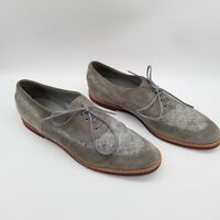 Manolo Blahnik Women  Oxford Suede Shoes Gray Lace Up 8.5