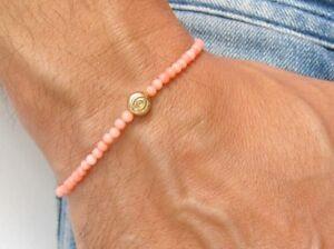 14 K solid gold evil eye bracelet amulet beads pink coral gemstone hamsa luck