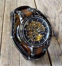 Steampunk watch, Leather watch band, Men's leather watch, Watch cuff, Brown