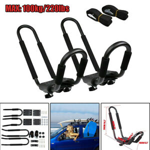 2X Universal 220lbs Car SUV Roof J-Bar Rack Kayak Boat Canoe Mount Bracket Rack