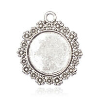 6pcs tibetan silver  round flower rim cabochon settings  H1601