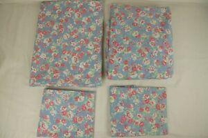 Vintage 4 pcs RALPH LAUREN HOPE ELISA Floral BLUE  Twin SHEET Set