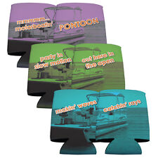 Set of 6 Double sided Pontoon Boating Themed Koozies (3 Different Designs)