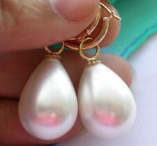 Charm 14 Mm South Sea White Shell Pearl Tear Drop Hoop Dangle Earrings