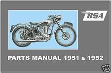 BSA Parts Manual All D1 C10 C11 B31 B32 B33 B34 M20 M21 M33 A7 & A10 1951 & 1952