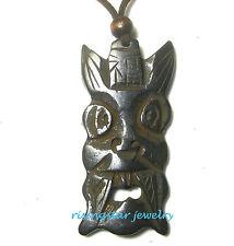 Cool Mythology God TIKI Genuine Yak Bone Hand Carved Amulet Adjustable Necklace