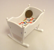 1:12 Scale White Painted Wooden Rocking Cot Dolls House Baby Nursery Furniture