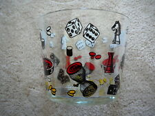 VINTAGE 1960s CASINO GAME NIGHT GLASS ICE BUCKET - POKER CARDS ROULETTE DICE EX