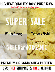 100% PURE RAW AFRICAN SHEA BUTTER Unrefined Organic GHANA Choose SIZE And COLOR