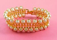 Vintage Avon Faux Pearl Bracelet Lustrous Links Gold Tone Chain 8.25 Inches