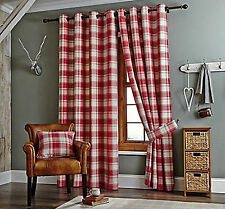 "Kindle Checked Jacquard Ring Top Eyelet Heading Curtains 5 Colours Smart Red 45x48"" (114x122cm)"