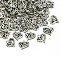 Lots 30pcs Tibetan Silver Alloy Hollow Heart Charms Pendants Findings Crafts
