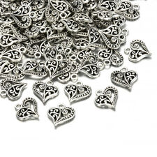 30pcs Tibetan Silver Alloy Hollow Heart Charms Pendants Findings Crafts DIY