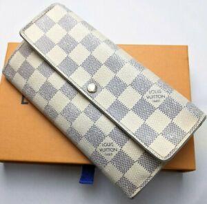 Auth Louis Vuitton Sarah Long Wallet Damier Azur CA3122 with Box Good Condition