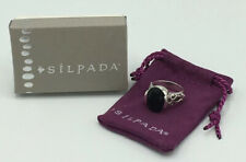 Stunning Silpada 925 Sterling Silver Black  Onyx Scroll Band Ring Size 7  R1410