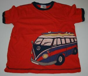 Used Hanna Andersson Boys 140 10 year Top Peace Bus Surf Board Orange Tee