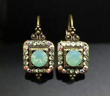 SWAROVSKI Antique Lantern Lime Opal Green Crystal Earring Wedding Gold Square