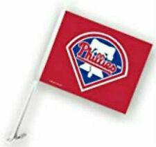 MLB Philadelphia Phillies Car Flag W/Wall Brackett~~~~Red~~~~11X15