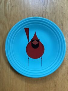 """Fiesta® TURQUOISE Blue 9"""" Luncheon Plate with Cardinal"""