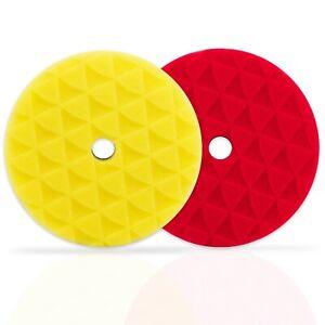 "ShineMate - 7"" Black Diamond (1) Yellow High Cut + (1) Red Finishing Foam Pad"