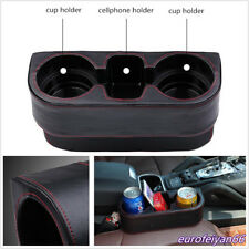 Black Microfiber Leather Car Vehicle Seat Gap 2-Cup Holder Food Cups Storage Box