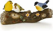 Solar Powered LED Song Birds on a Log Outdoor Garden Statue