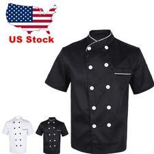 Us Unisex Chef Coat Short Sleeve Jacket Restaurant Cooker Button Uniform Costume
